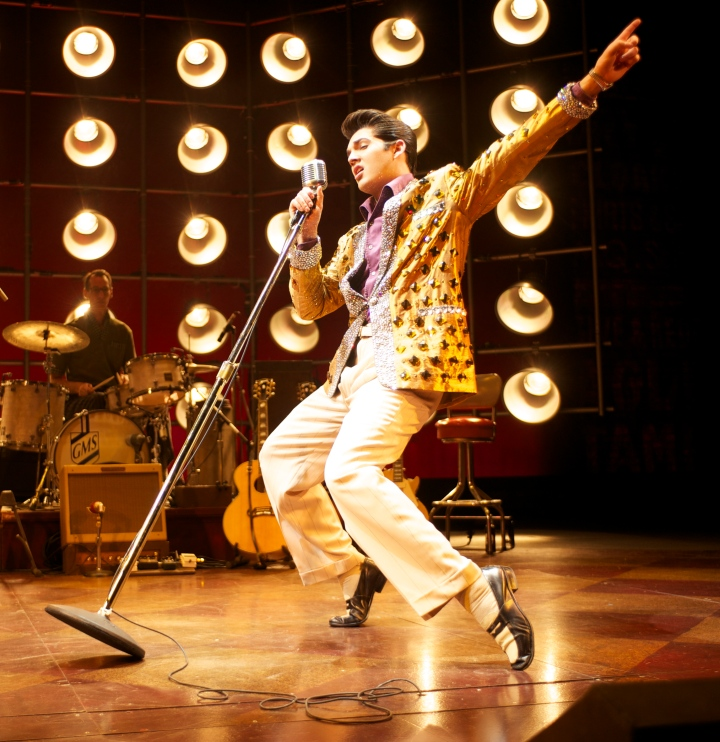 Cody Slaughter is winning raves from critics for his role as Elvis Presley in MILLION DOLLAR QUARTET. Photo by Paul Natkin.