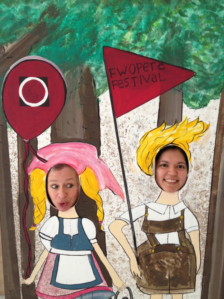 Get your pic taken at the Fort Worth Opera's Hansel & Gretel display, as did Bass Hall's Angie Prater and Stephanie Vordokas.