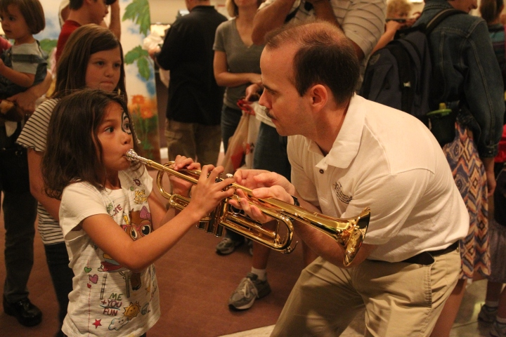 """Visitors to Bass Hall's Open House can take a stroll through the Fort Worth Symphony's Orchestra's instrument """"petting zoo."""" Photo by Richard Rodriguez (courtesy FWSO)."""