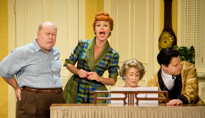 Curtis Pettyjohn (Fred), Sirena Irwin (Lucy), Joanna Daniels (Ethel) and Bill Mendieta (Ricky) in I LOVE LUCY® LIVE ON STAGE (Photo by JustinBarbin.com).
