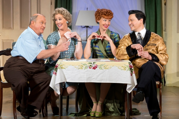 WELL PLAYED: Kevin Remington (Fred), Joanna Daniels (Ethel), Sirena Irwin (Lucy), and Bill Mendieta (Ricky) in I LOVE LUCY® LIVE ON STAGE (Photo by Jeremy Daniel)
