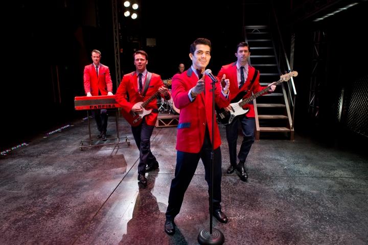 Quinn Van Antwerp, Nicolas Dromard, Hayden Milanes and Adam Zelasko star in JERSEY BOYS. Photo: Jeremy Daniel