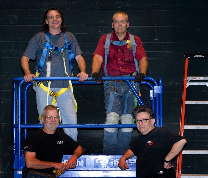 The team that worked on sound and lighting upgrades included (clockwise): Doug Kirk, Technical Director Audio Systems; Carey Rogers, Assistant Director of Building Services; Steve Truitt, Technical Director; and