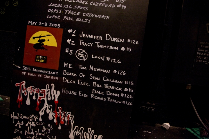 Signatures from Miss Saigon's tech team, from 2005.