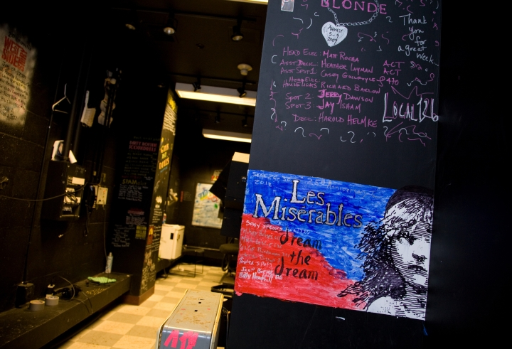 """The Bass Hall spot booth, where sound and lighting technicians from tours leave their """"signatures.&quot"""