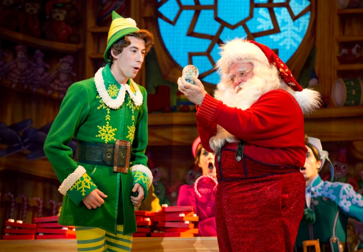 Eric Williams stars as Buddy and Ken Clement as Santa in the Broadway musical ELF. Photo: Joan Marcus.