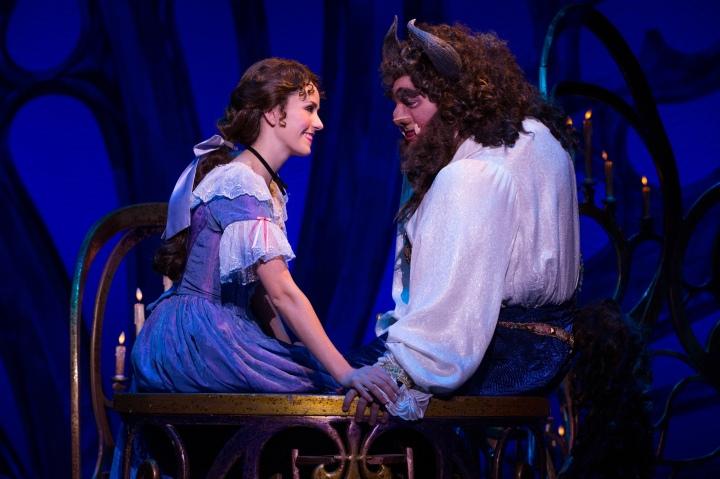 Jillian Butterfield as Belle and Ryan Everett-Wood as Beast in Disney's BEAUTY AND THE BEAST. Photo by Matthew Murphy.