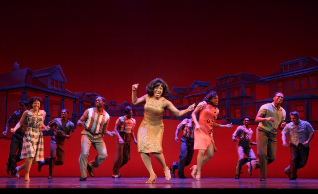 Patrice Covington as Martha Reeves (center) and cast of MOTOWN THE MUSICAL. Photo: Joan Marcus.